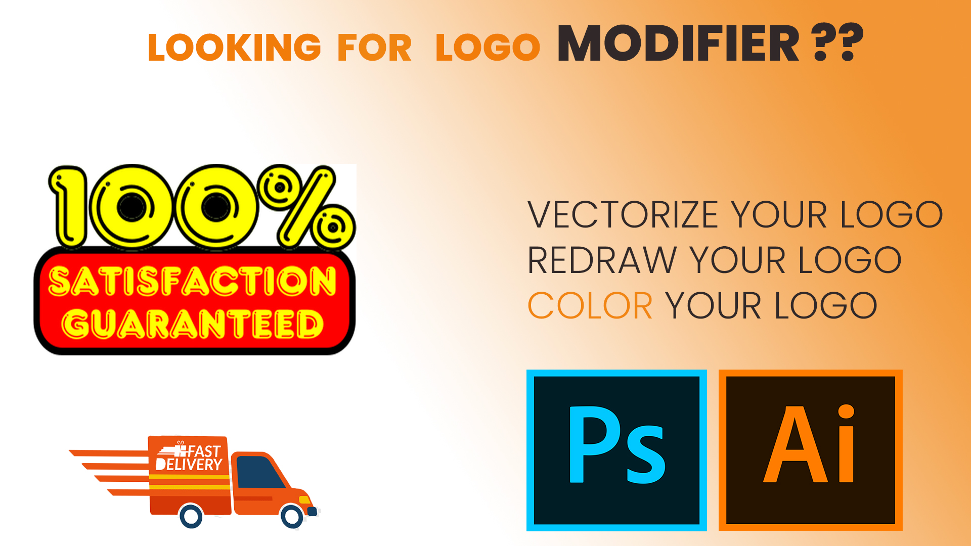 I will redraw your logo,  modify your logo, change colour of your logo