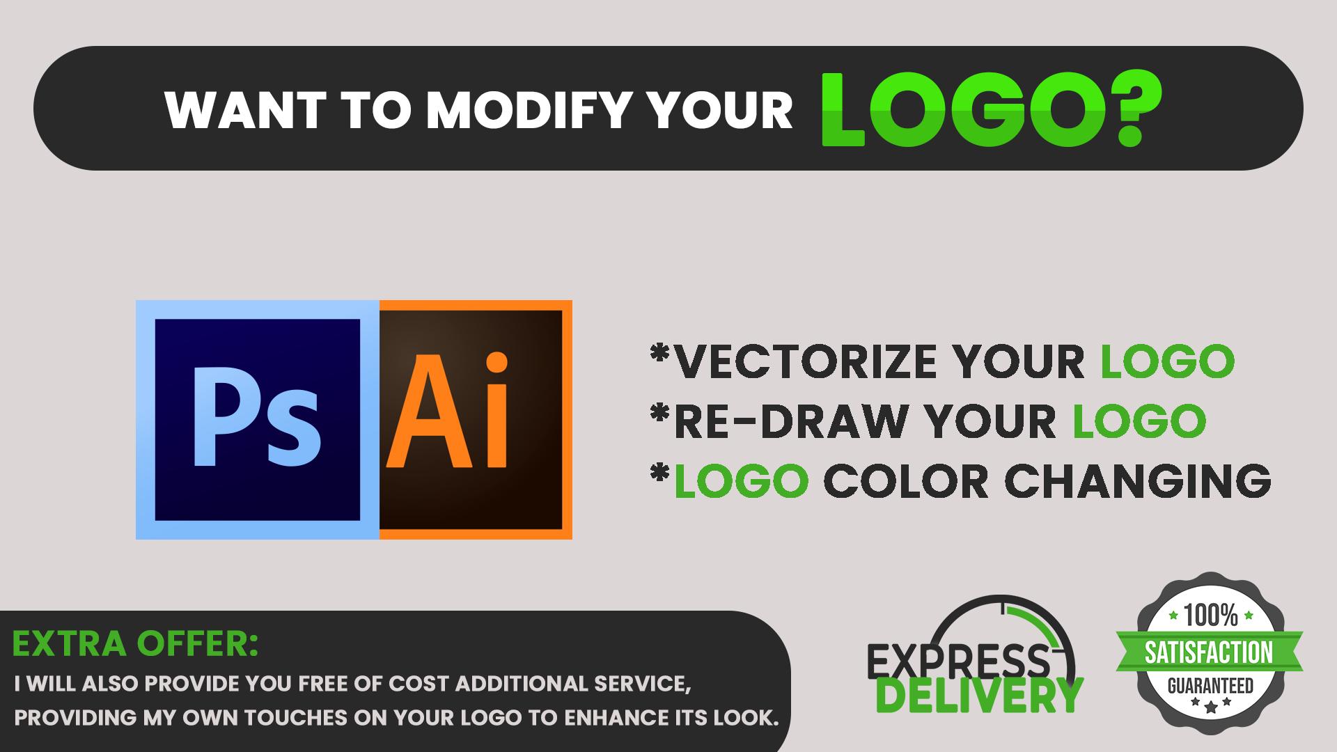 I will redraw your logo,  modify your logo