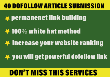 Write and publish 40 HQ article submission on unique domain