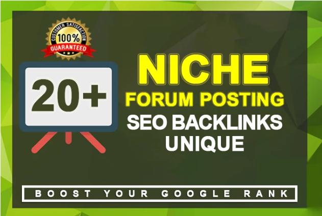 I will provide 20 niche relevant forum posts with high da pa