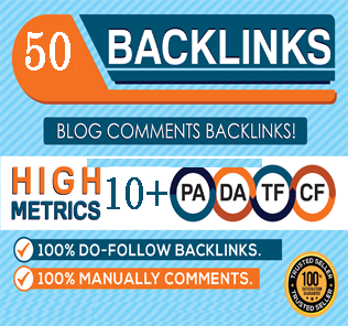 I will provide 50 dofollow blog comment high backlinks DA 20 to 80 plus