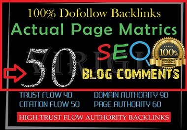 Provide 50 Niche Blog Comments Backlinks High Quality With DA,PA
