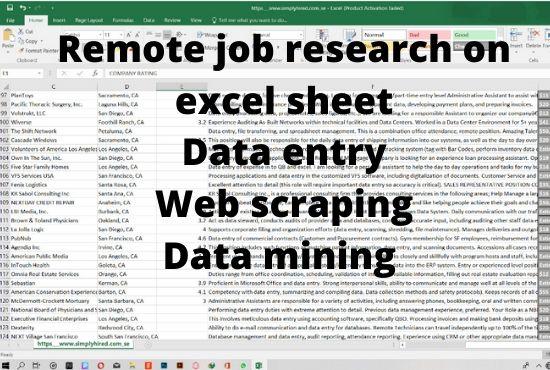 remote job search and data scrape