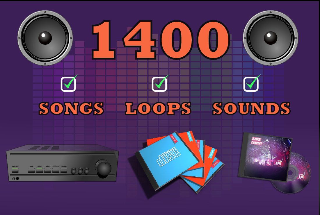 Royalty Free Music Tracks,  Audio and Beats 1400 in total