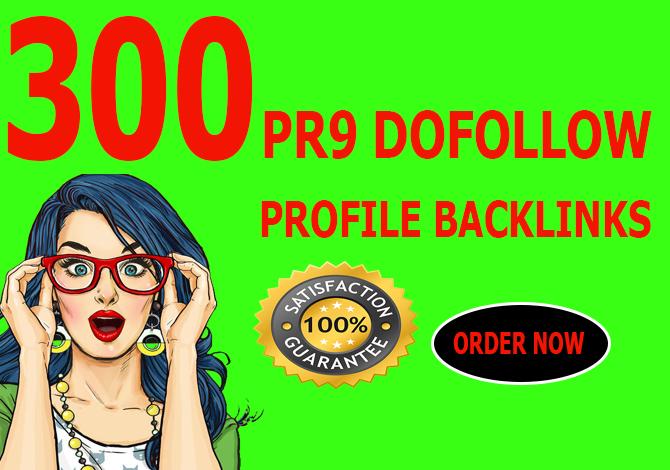 Manually create 300 pr9 dofollow profile backlink for your website