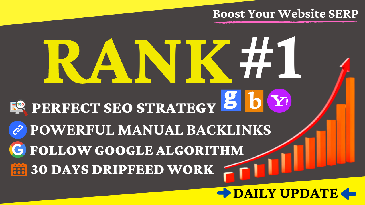 Rank Your Website on Google 1st Page Guaranteed,  30 Days SEO Manually Backlinks