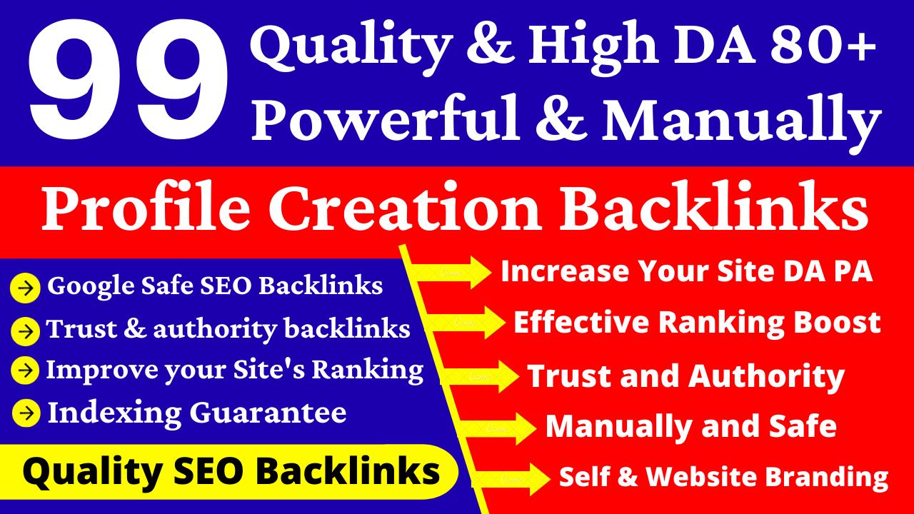 99 Manually & Quality Profile Creation Dofollow Backlinks. Edu Wiki,  Social Bookmarking Service