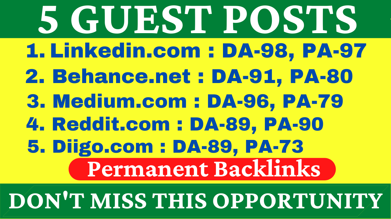 5 Guest Posts on High DA PA Sites With Reddit,  Medium,  Diigo,  Behance And Linkedin Boost Your Site