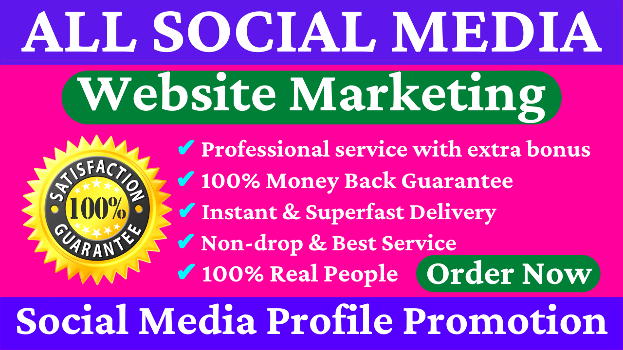 All Social Media Website Marketing YouTube Twitter TikTok & Many More HQ Non Drop Profile Promotion