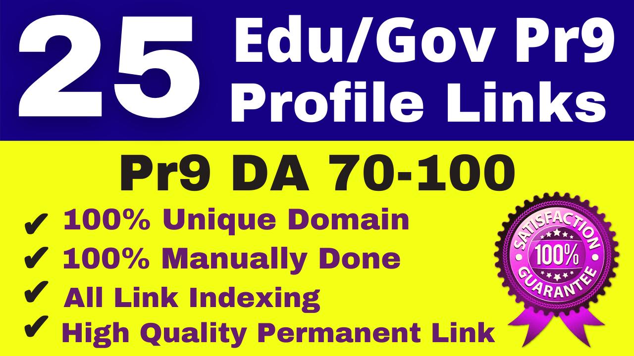 25 Pr9 Edu Gov With High Authority Safe SEO Profile Backlinks Link Building Service