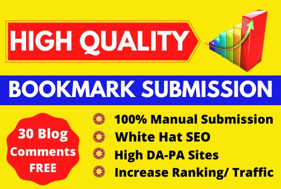 Manually HQ bookmark submission backlinks for seo