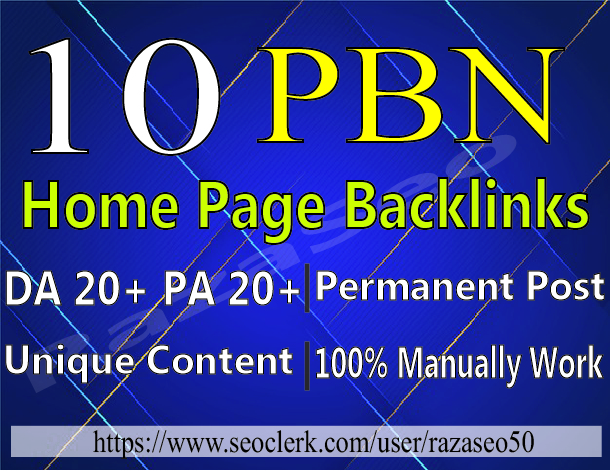 10 pbn high quality home page permanent backlinks
