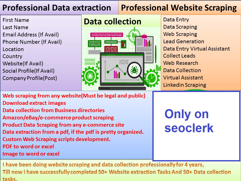fast manually data entry, web research and lead generation