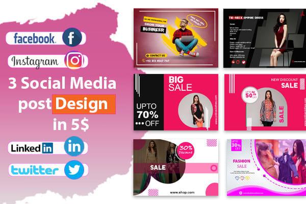 I will design 3 attractive instragram,  facebook post social media post