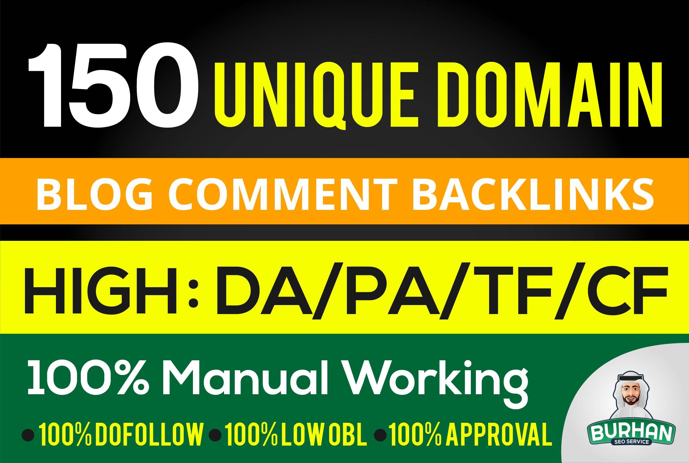 provide 150 unique domain SEO backlinks DA 100 site