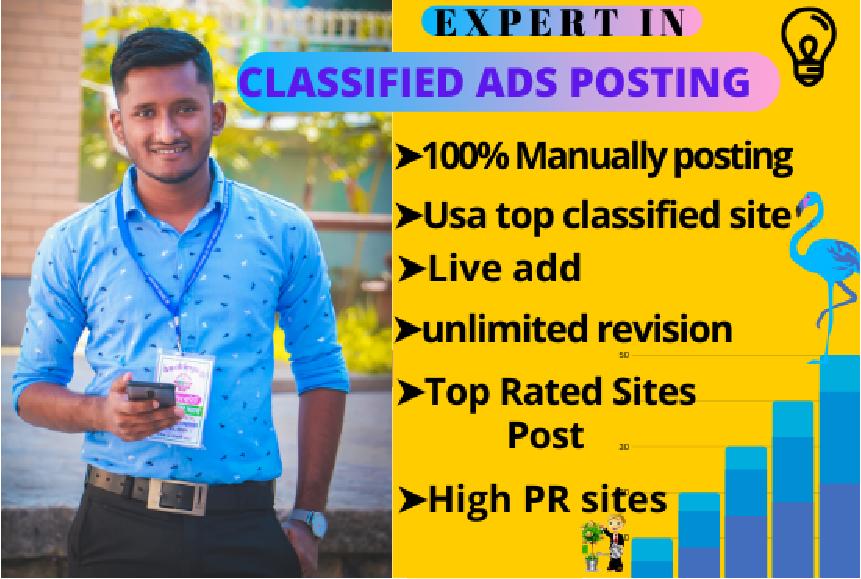 publish live guaranteed manually classified ad post in USA