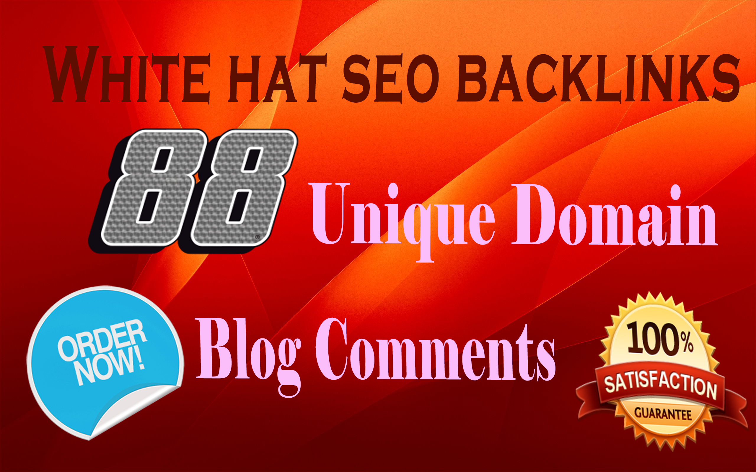 I will do 88 white hat seo backlinks on unique domain blog comments