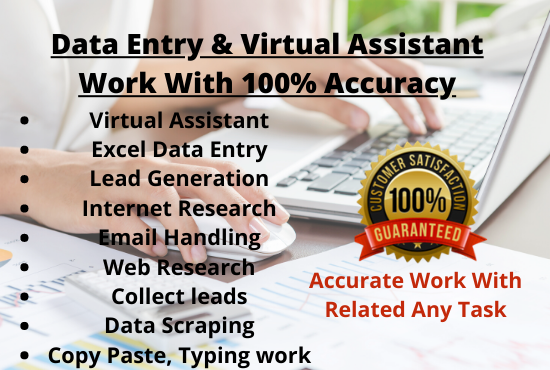 I will be your virtual assistant for data entry jobs,  excel,  Internet Research