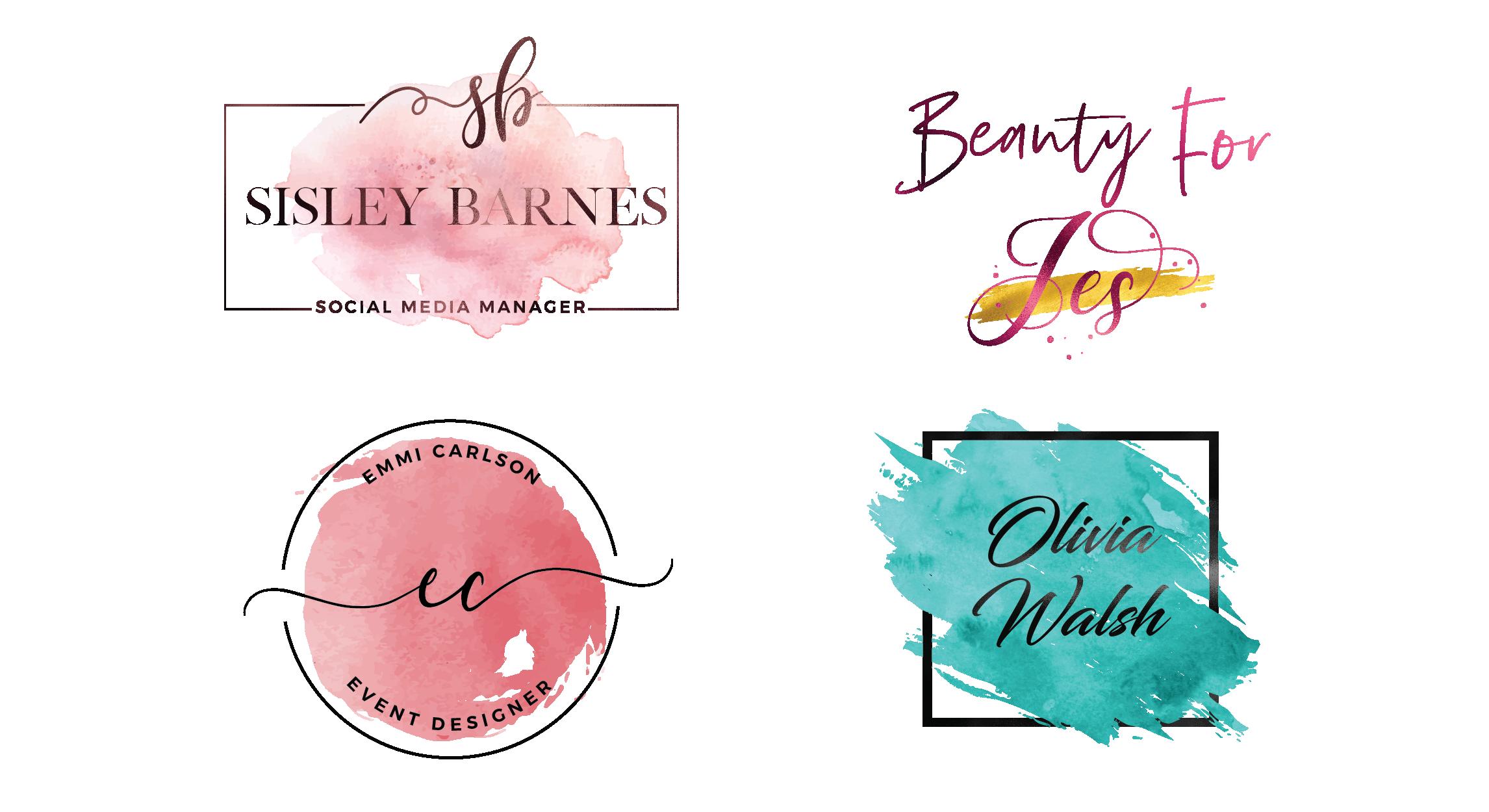 design golden feminine and watercolor signature logo