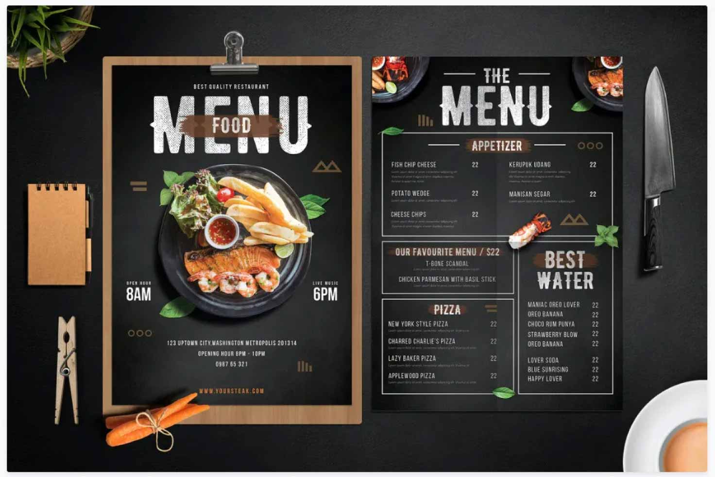 I will design attractive restaurant menu