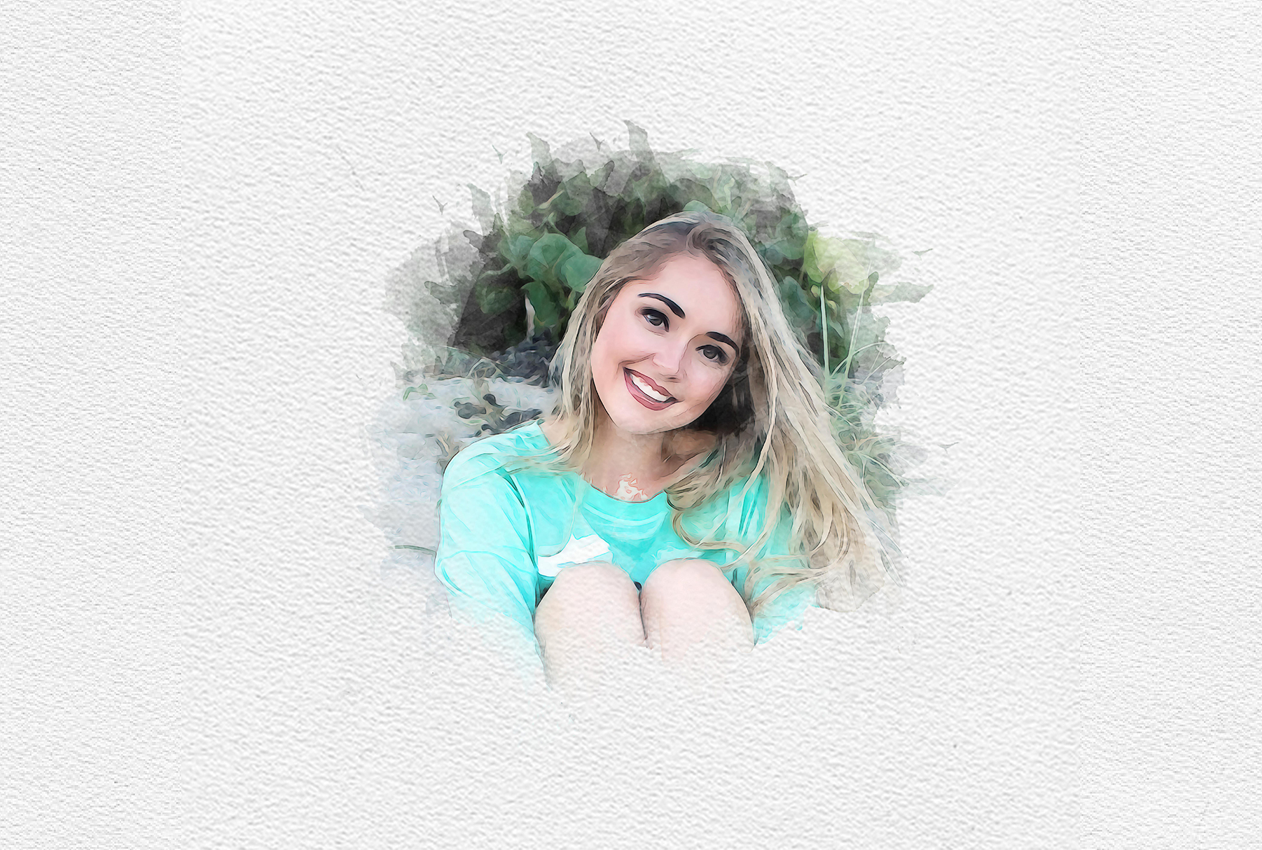 Draw a watercolor portrait from the photo