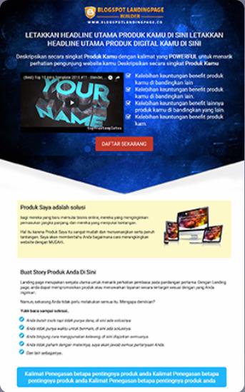 send tamplate blogspot landing page builder
