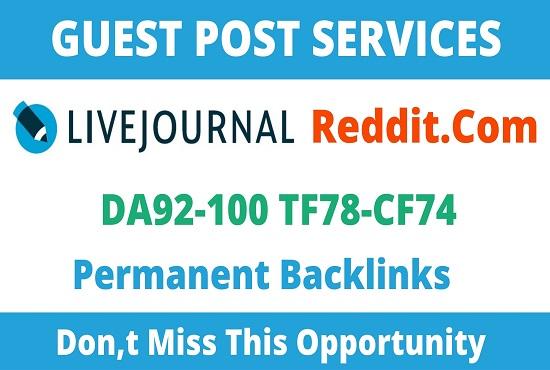 92+ Publish 2 Guest Post on Reddit,  Livejournal. com