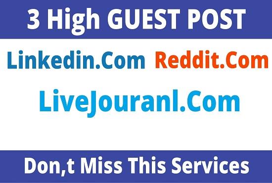 DA91+ Publish 3 Guest Post On Reddit,  Linkedin,  Livejouranl