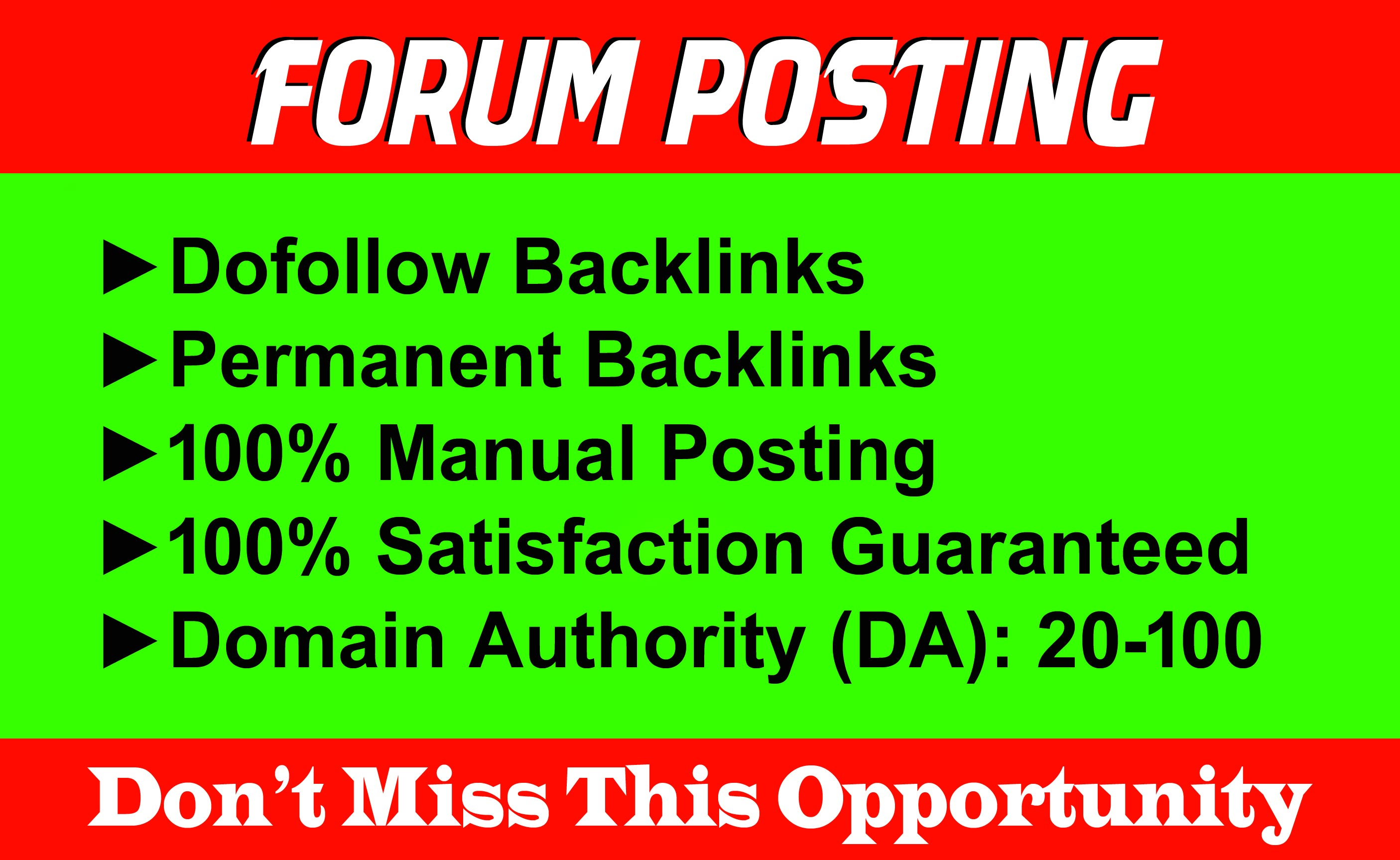 Manually 50 Forum Posting SEO Backlinks for Google Ranking.