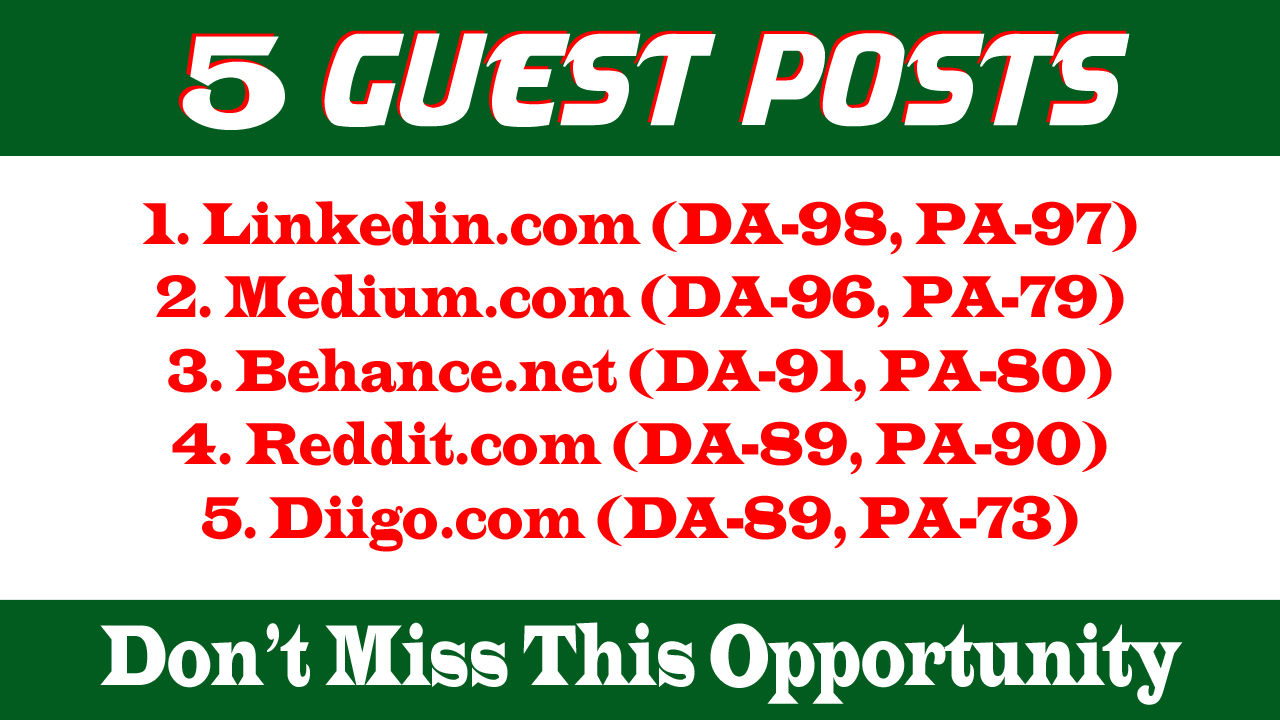 Write and Publish 5 Guest Posts DA 85+ With Permanent Backlinks