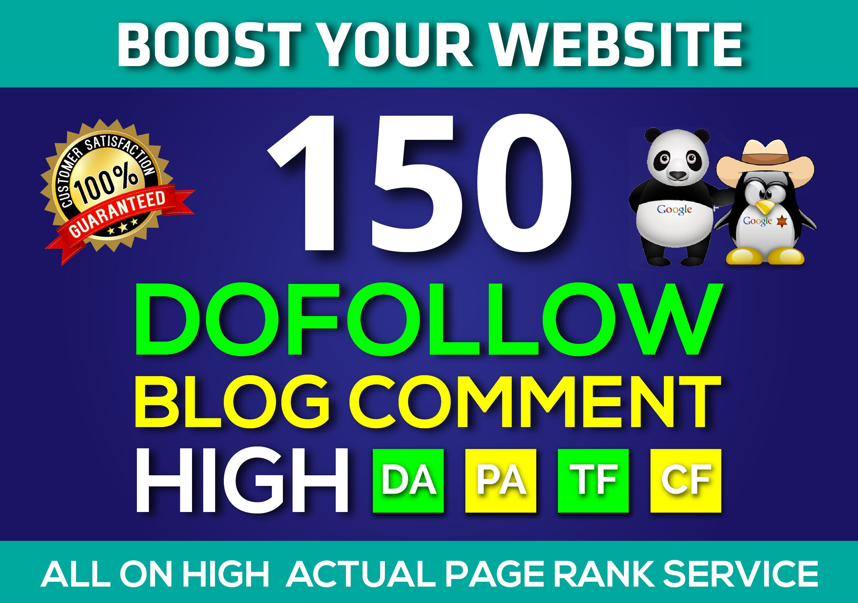 150 Blog Commenting Dofollow Backlinks High DA PA google Obl Low Rank Website Traffic