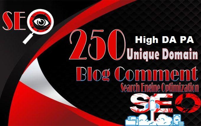 250 Blog Commenting Dofollow Backlinks High DA PA google Rank Website Traffic Obl Low