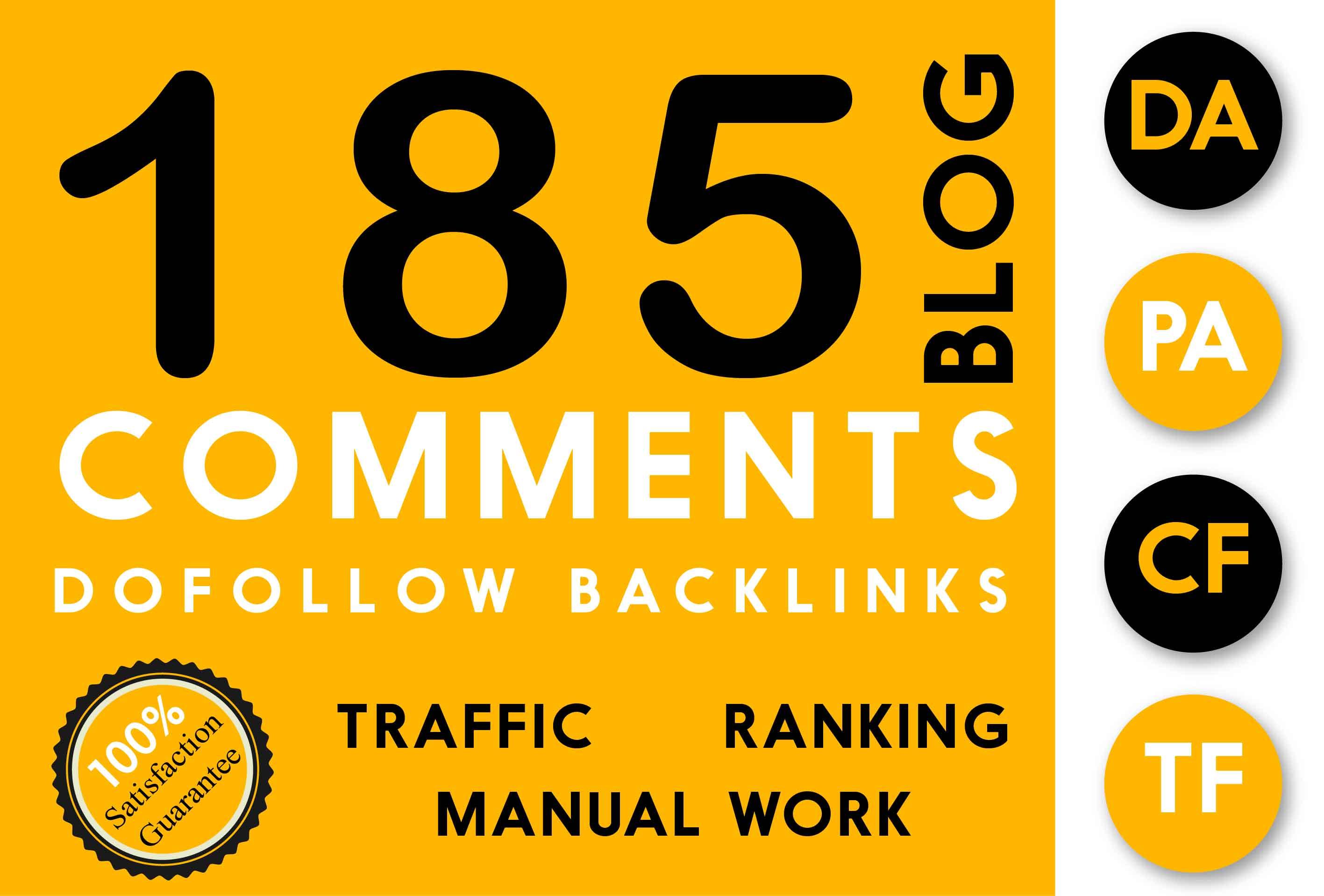 185 Blog Commenting Dofollow Backlinks High DA PA google Rank Website Traffic Obl Low