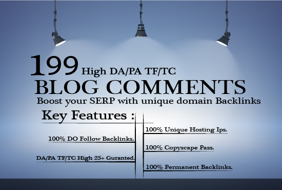 I will do 199 unique domain dofollow Blog comments backlinks