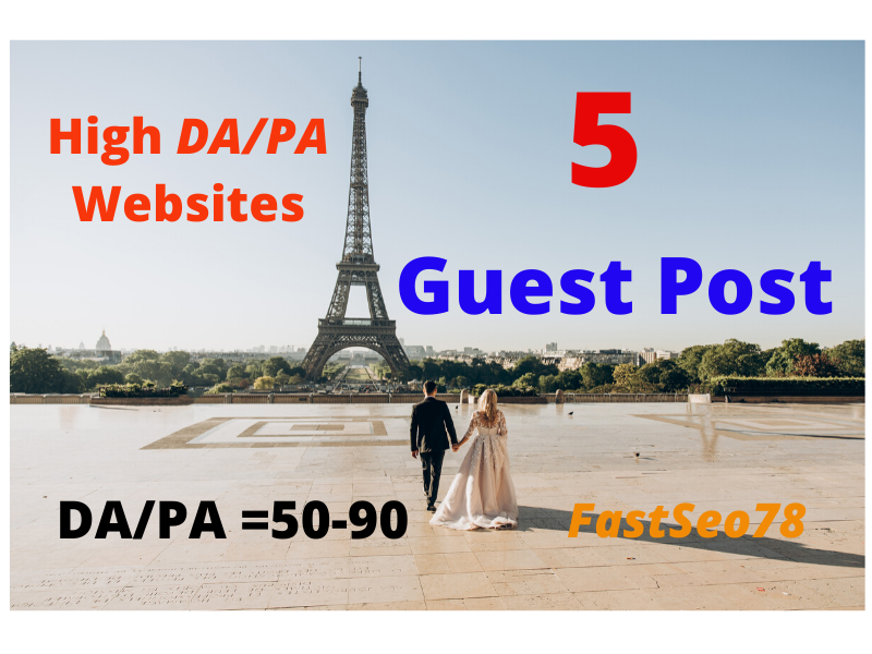 I will boost SEO ranking with 5 guestpost on 90 da/pa sites
