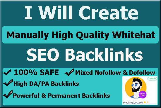 I will create manually whaite hat seo backlinks with link building