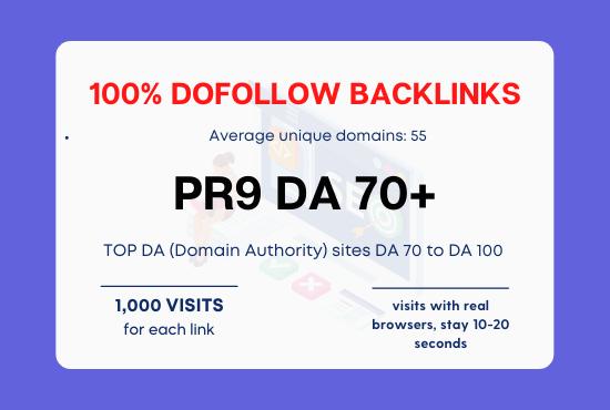 PR9 - 50 Do-follow Backlink Domain Authority 70+ 100 Real