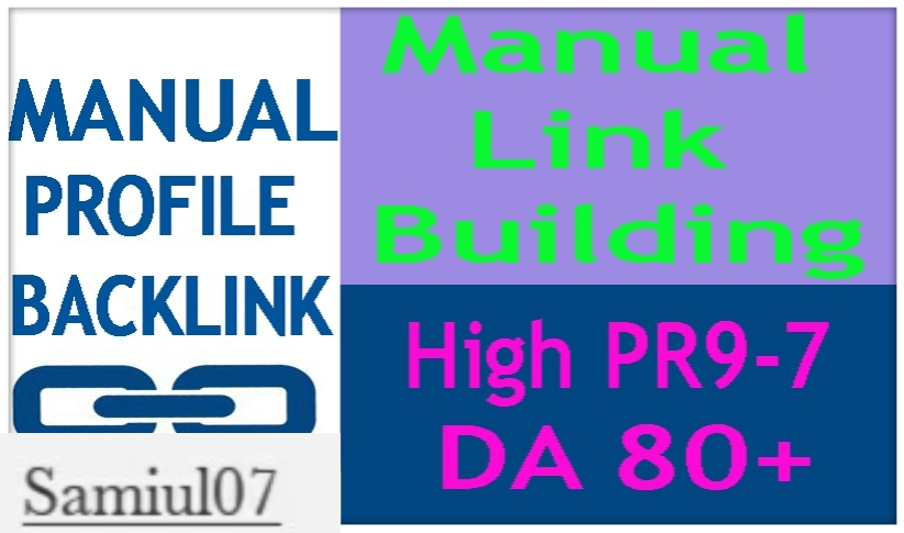 High Quality 45 Manuall Profile Backlink DA70+ PR9-7