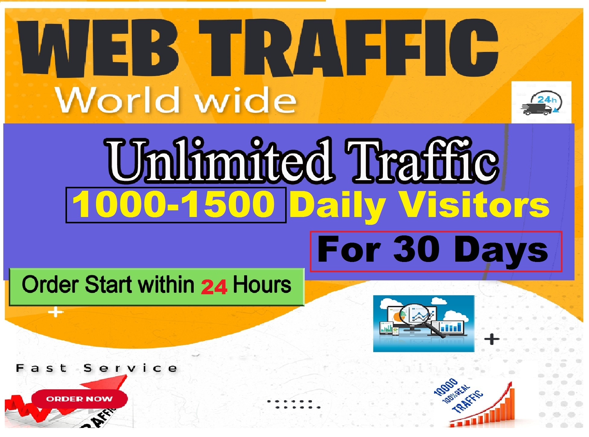 Daily 1000 real traffic Worldwide for ONE MONTH Genuine