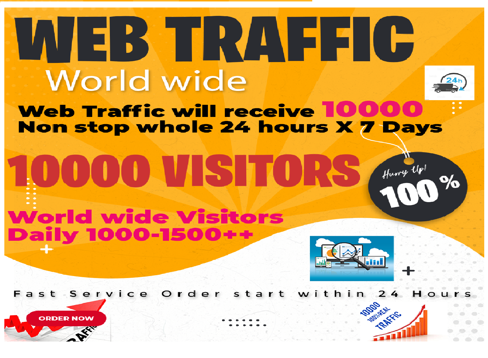 Real 10,000 + Web Traffic WORLDWIDE Search Engine, Social Media for 1
