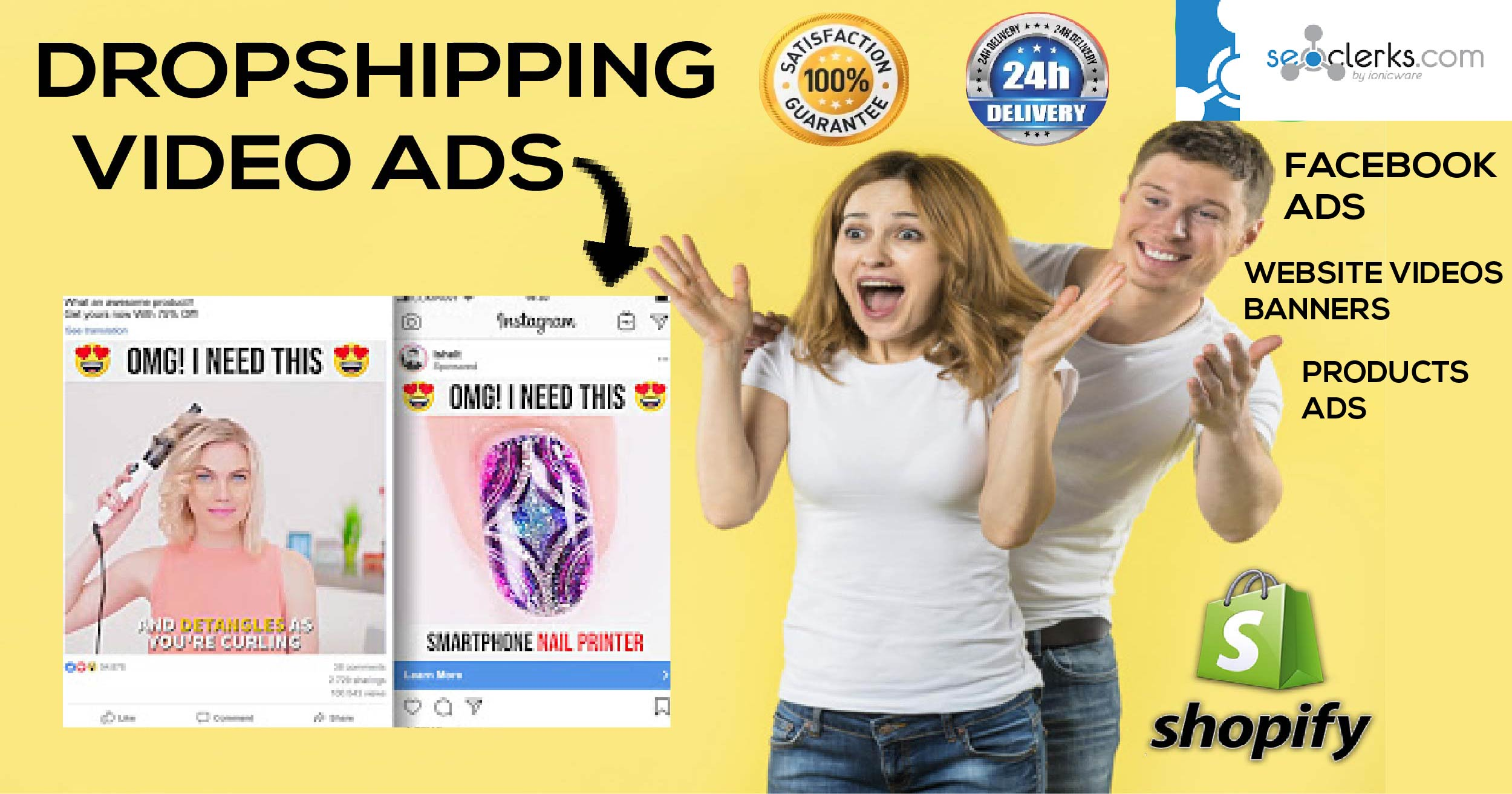 I will create eye catchy dropshipping ads and facebook video ads