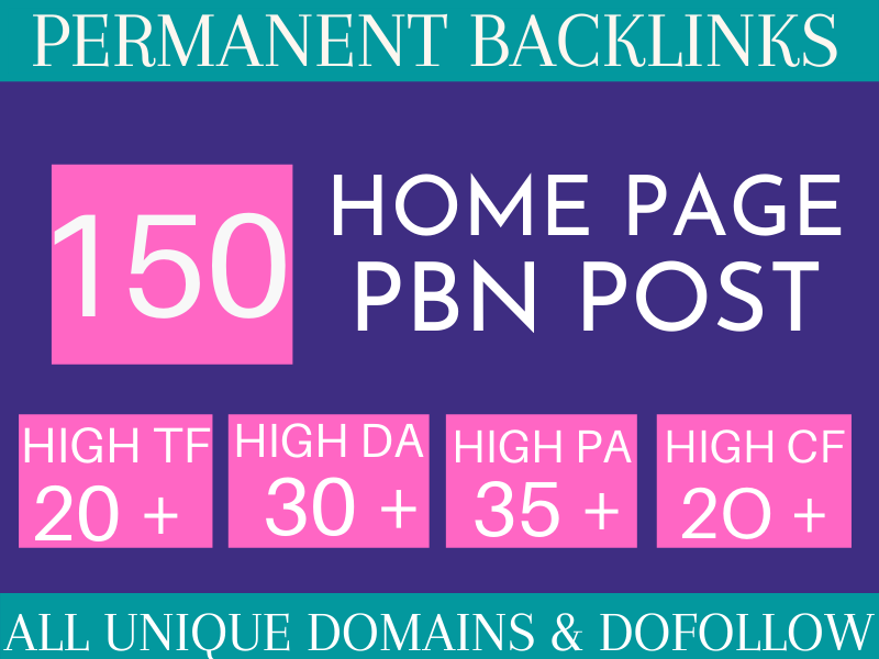 Manaul 150 Homepage PBN Unique domains With High Qaulity Metrics