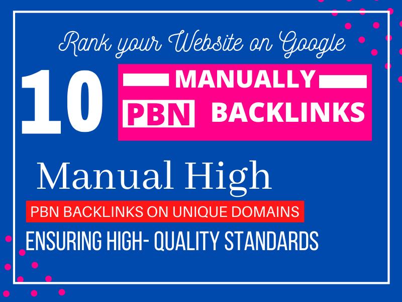 Build 10 Manually PBN Backlinks from High DA PA CF TF