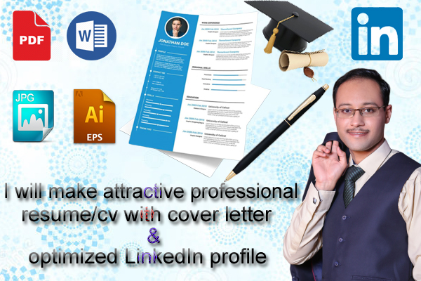 I will design and edit your professional cv,  resume,  cover letter and linkedin