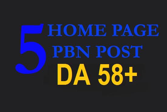 Homepage 5 DA 58+ ZERO SPAM Dofollow PBN BACKLINKS