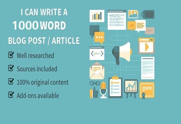 I will write 1000 words SEO article, blog post, website content
