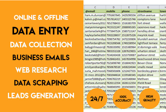 do excellent data entry,  data collection,  web research and find business email