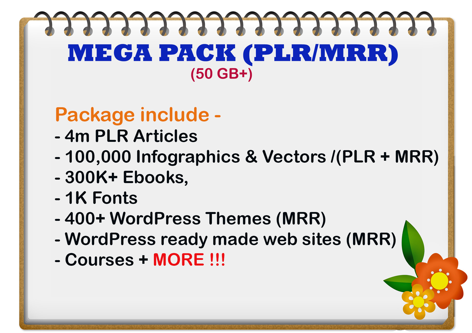 I will give you 50GB mega PLR and MRR content Mega pack
