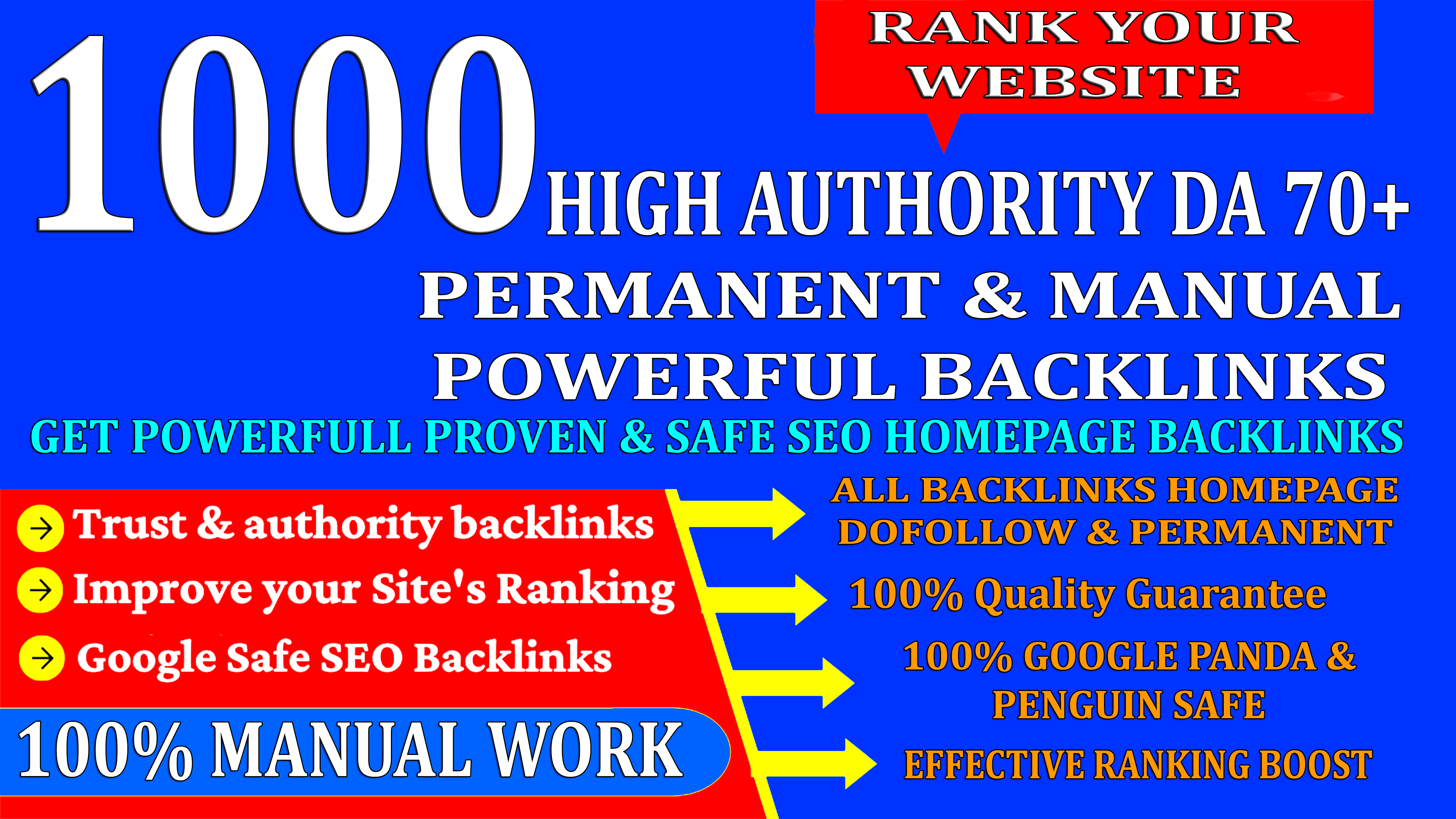 1000 HighAuthority Permanent Web2.0 PBN Homepage Backlinks With High DA/PA On Rank your Website