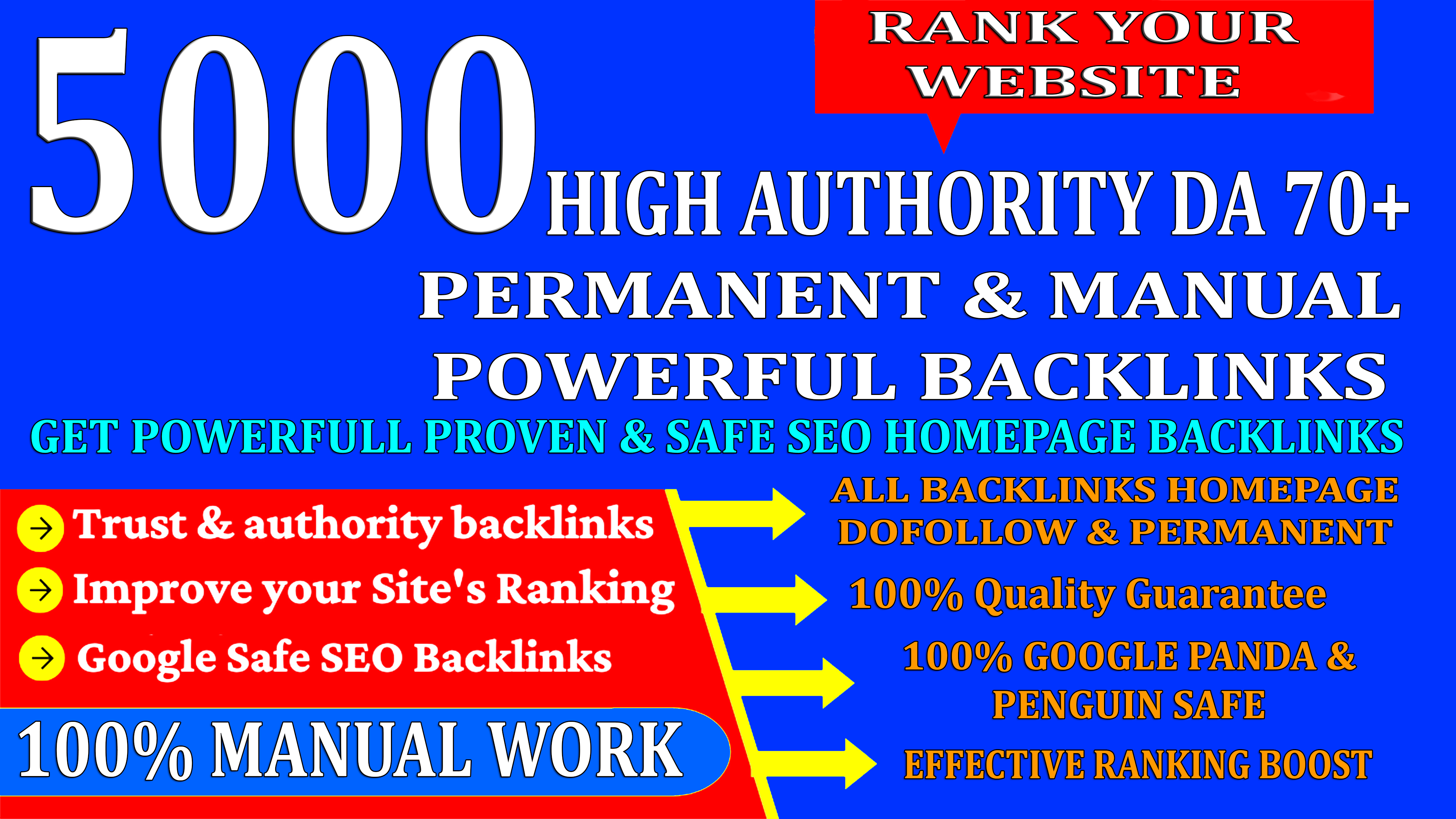 5000 High Authority Permanent Web2.0 Homepage Backlinks With High DA/PA On Ranking your Website
